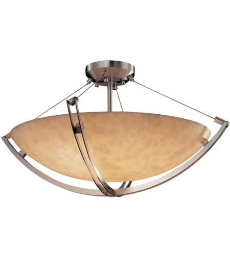 Justice Design CLD-9712-35-NCKL Clouds 6 Light 21 inch Brushed Nickel Semi-Flush Bowl Ceiling Light in Round Bowl photo