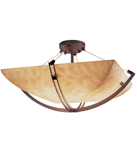 Justice Design CLD-9717-25-DBRZ Clouds 8 Light 55 inch Dark Bronze Semi-Flush Bowl Ceiling Light in Square Bowl photo