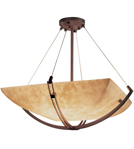 Justice Design CLD-9727-25-DBRZ Clouds 8 Light 55 inch Dark Bronze Pendant Bowl Ceiling Light in Square Bowl photo