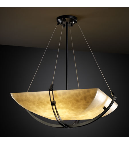 Justice Design CLD-9727-25-MBLK Clouds 8 Light 55 inch Matte Black Pendant Bowl Ceiling Light in Square Bowl photo