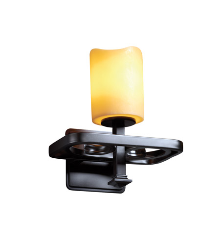 Justice Design CandleAria Arcadia 1-Light Wall Sconce in Matte Black CNDL-8561-14-AMBR-MBLK photo
