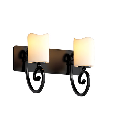 Justice Design CandleAria Victoria 2-Light Bath Bar in Matte Black CNDL-8572-14-CREM-MBLK photo