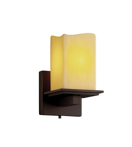 Justice Design CNDL-8671-19-AMBR-DBRZ CandleAria 1 Light 5 inch Dark Bronze Wall Sconce Wall Light in Square with Melted Rim, Amber (CandleAria) photo