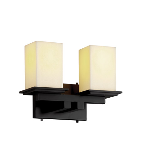 Justice Design CNDL-8672-15-CREM-MBLK CandleAria 2 Light 13 inch Matte Black Bath Bar Wall Light in Square with Flat Rim, Cream (CandleAria) photo