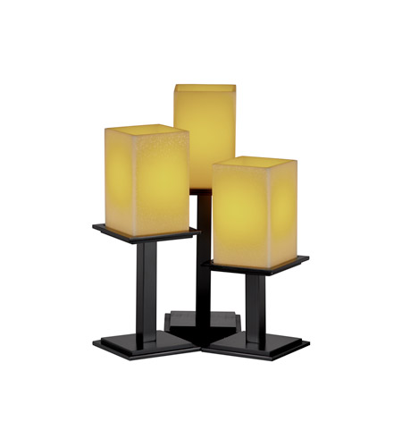 Justice Design CNDL-8697-15-AMBR-MBLK CandleAria 17 inch 60 watt Matte Black Table Lamp Portable Light in Square with Flat Rim, Amber (CandleAria) photo
