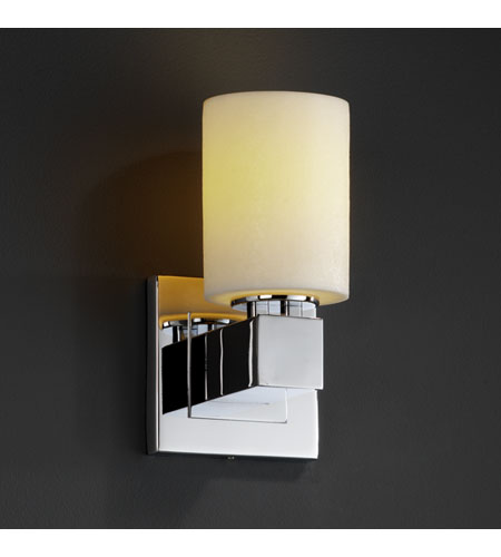Justice Design CNDL-8705-10-CREM-CROM CandleAria 1 Light 5 inch Polished Chrome Wall Sconce Wall Light in Cylinder with Flat Rim, Cream (CandleAria) photo