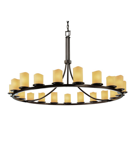 Justice Design CNDL-8716-14-AMBR-DBRZ CandleAria 21 Light Dark Bronze Chandelier Ceiling Light in Cylinder with Melted Rim, Amber (CandleAria) photo