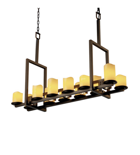 Justice Design CandleAria Dakota 12-Up & 5-Downlight Bridge Chandelier (Tall) in Dark Bronze CNDL-8719-14-AMBR-DBRZ photo