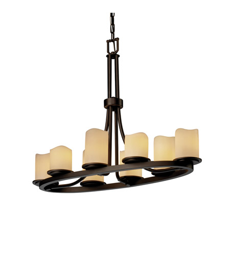 Justice Design CNDL-8751-14-CREM-DBRZ CandleAria 8 Light 16 inch Dark Bronze Chandelier Ceiling Light in Cylinder with Melted Rim, Cream (CandleAria) photo