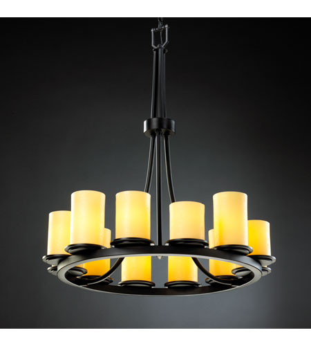 Justice Design CNDL-8763-10-AMBR-MBLK CandleAria 12 Light 28 inch Matte Black Chandelier Ceiling Light in Cylinder with Flat Rim, Amber (CandleAria) photo