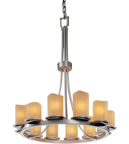 Justice Design CNDL-8763-14-AMBR-NCKL CandleAria 12 Light Brushed Nickel Chandelier Ceiling Light in Cylinder with Melted Rim, Amber (CandleAria) photo