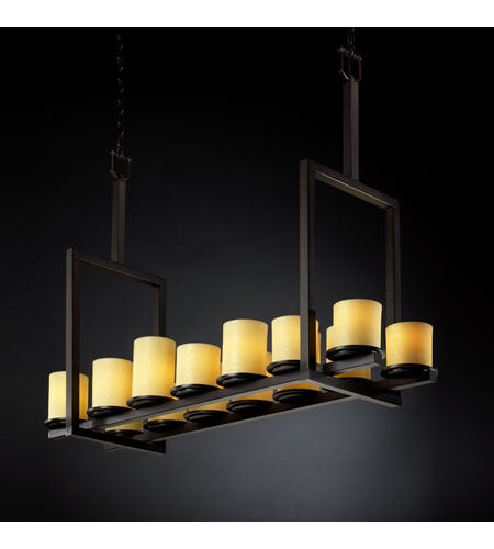 Justice Design CandleAria Dakota 14-Light Bridge Chandelier (Tall) in Dark Bronze CNDL-8764-10-AMBR-DBRZ photo
