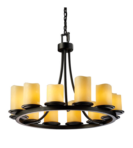 Justice Design CNDL-8768-14-AMBR-MBLK CandleAria 12 Light Matte Black Chandelier Ceiling Light in Cylinder with Melted Rim, Amber (CandleAria) photo