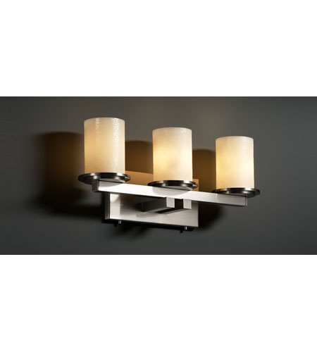 Justice Design CandleAria Dakota 3-Light Straight-Bar Bath Bar in Brushed Nickel CNDL-8773-10-CREM-NCKL photo