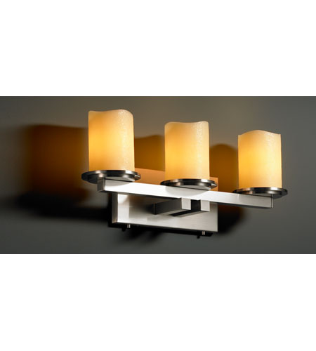 Justice Design CandleAria Dakota 3-Light Straight-Bar Bath Bar in Brushed Nickel CNDL-8773-14-AMBR-NCKL photo
