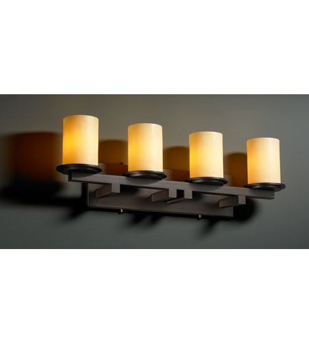 Justice Design CNDL-8774-10-AMBR-DBRZ CandleAria 4 Light 29 inch Dark Bronze Bath Bar Wall Light in Cylinder with Flat Rim, Amber (CandleAria) photo