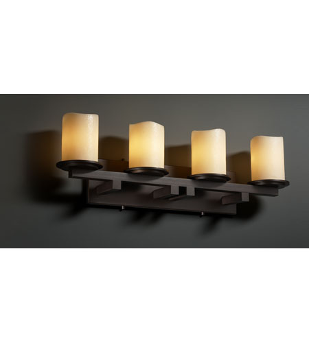 Justice Design CNDL-8774-14-CREM-DBRZ CandleAria 4 Light 29 inch Dark Bronze Bath Bar Wall Light in Cylinder with Melted Rim, Cream (CandleAria) photo