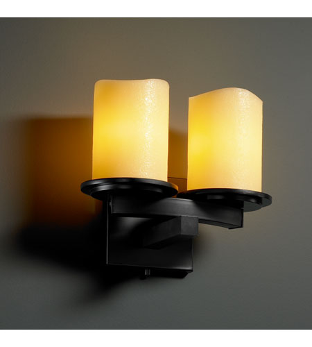 Justice Design CandleAria Dakota 2-Light Curved-Bar Wall Sconce in Matte Black CNDL-8775-14-AMBR-MBLK photo