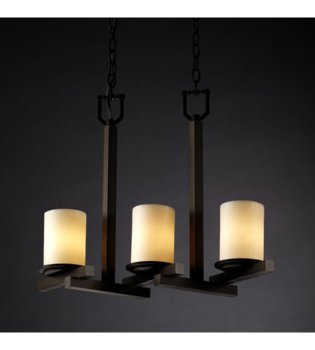 Justice Design CandleAria Dakota 3-Light Zig-Zag Chandelier in Dark Bronze CNDL-8777-10-CREM-DBRZ photo