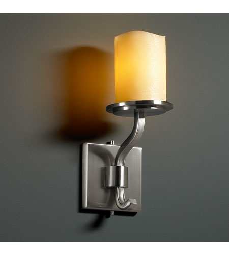 Justice Design CNDL-8781-14-AMBR-NCKL CandleAria 1 Light 5 inch Brushed Nickel Wall Sconce Wall Light in Cylinder with Melted Rim, Amber (CandleAria) photo