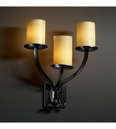 Justice Design CNDL-8783-10-AMBR-MBLK CandleAria 3 Light 20 inch Matte Black Wall Sconce Wall Light in Cylinder with Flat Rim, Amber (CandleAria) photo