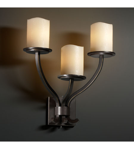Justice Design CandleAria Sonoma 3-Light Wall Sconce in Dark Bronze CNDL-8783-14-CREM-DBRZ photo