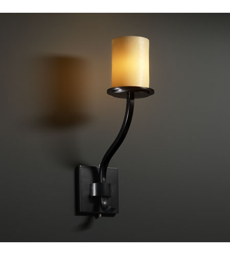 Justice Design CandleAria Sonoma 1-Light Wall Sconce (Tall) in Matte Black CNDL-8784-10-AMBR-MBLK photo