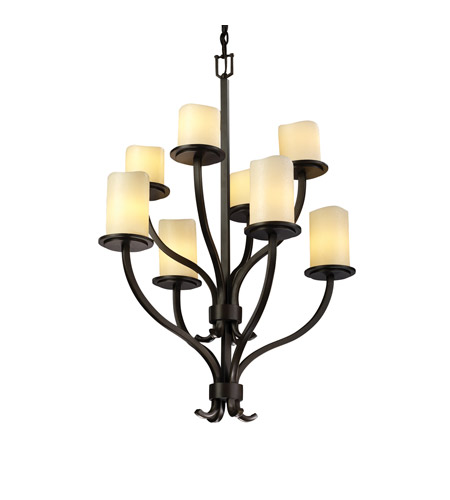 Justice Design CNDL-8788-14-CREM-DBRZ CandleAria 8 Light 27 inch Dark Bronze Chandelier Ceiling Light in Cylinder with Melted Rim, Cream (CandleAria) photo