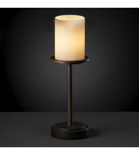 Justice Design CNDL-8799-10-CREM-DBRZ CandleAria 16 inch 60 watt Dark Bronze Table Lamp Portable Light in Cylinder with Flat Rim, Cream (CandleAria) photo