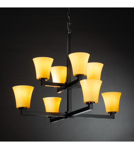 Justice Design CandleAria Modular 8-Light 2-Tier Chandelier in Matte Black CNDL-8828-20-AMBR-MBLK photo