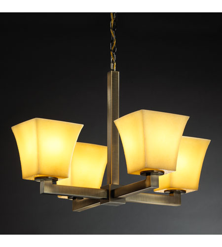 Justice Design CandleAria Modular 4-Light Chandelier in Antique Brass CNDL-8829-40-AMBR-ABRS photo