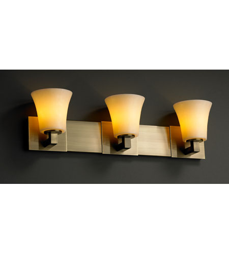 Justice Design CandleAria Modular 3-Light Bath Bar in Antique Brass CNDL-8923-20-AMBR-ABRS photo