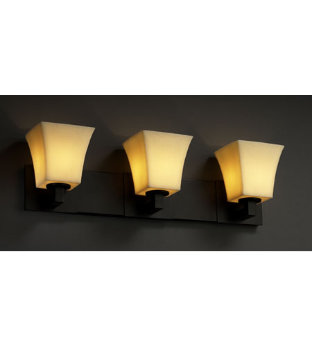 Justice Design CandleAria Modular 3-Light Bath Bar in Matte Black CNDL-8923-40-AMBR-MBLK photo
