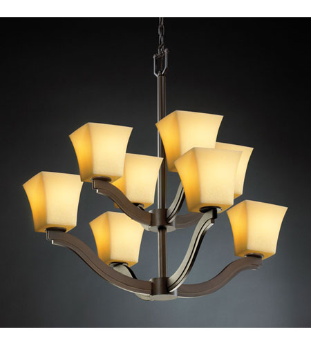Justice Design CandleAria Bend 8-Light 2-Tier Chandelier in Dark Bronze CNDL-8978-40-AMBR-DBRZ photo