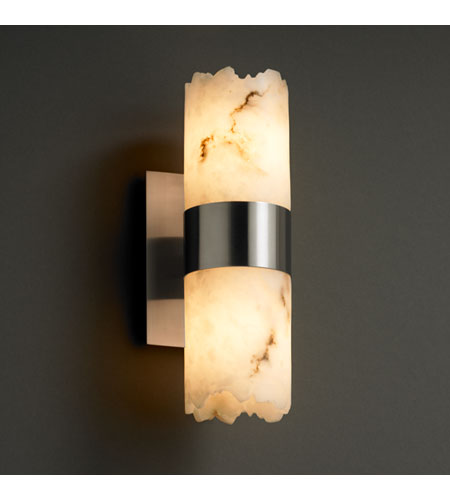Justice Design FAL-8762-12-NCKL LumenAria 2 Light 5 inch Brushed Nickel Wall Sconce Wall Light in Cylinder with Broken Rim photo