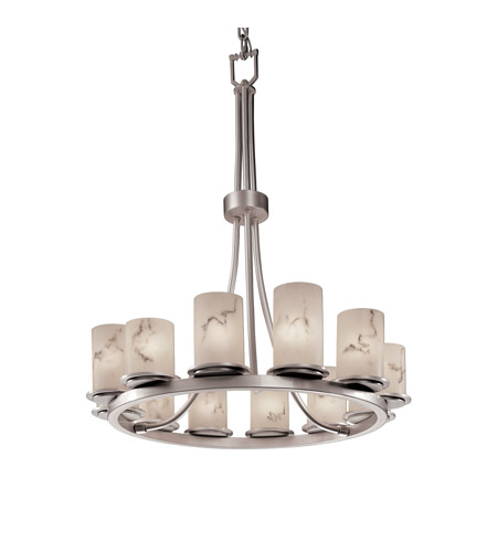 Justice Design FAL-8763-10-NCKL LumenAria 12 Light 28 inch Brushed Nickel Chandelier Ceiling Light in Cylinder with Flat Rim photo