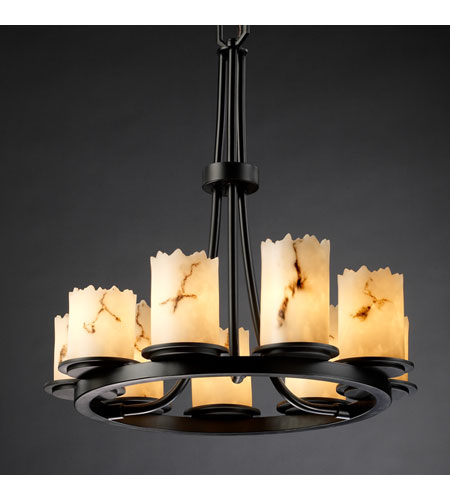 Justice Design LumenAria Dakota 9-Light Ring Chandelier in Matte Black FAL-8766-12-MBLK photo