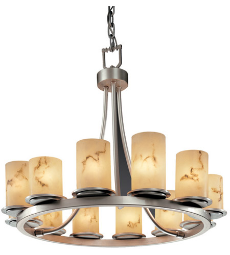 Justice Design FAL-8768-10-NCKL LumenAria 12 Light Brushed Nickel Chandelier Ceiling Light in Cylinder with Flat Rim photo