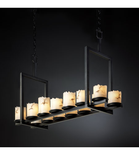 Justice Design LumenAria Dakota 14-Light Bridge Chandelier (Short) in Matte Black FAL-8769-12-MBLK photo