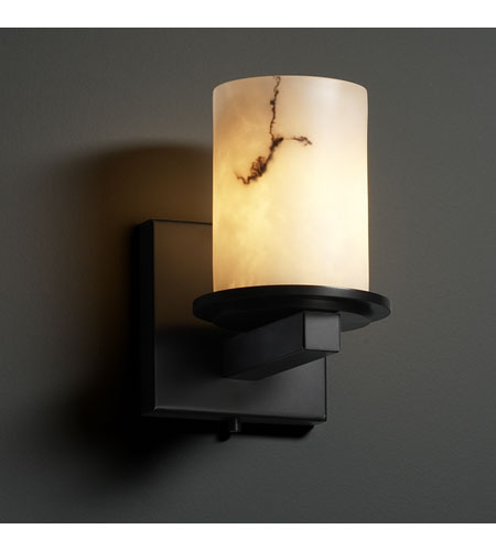Justice Design FAL-8771-10-MBLK LumenAria 1 Light 5 inch Matte Black Wall Sconce Wall Light in Cylinder with Flat Rim photo