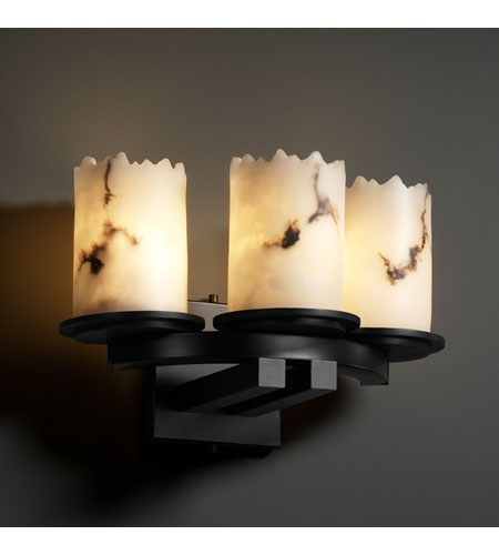 Justice Design FAL-8776-12-MBLK LumenAria 3 Light 14 inch Matte Black Wall Sconce Wall Light in Cylinder with Broken Rim photo