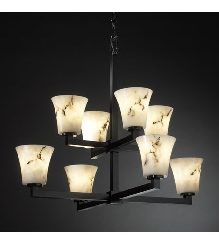 Justice Design LumenAria Modular 8-Light 2-Tier Chandelier in Matte Black FAL-8828-20-MBLK photo