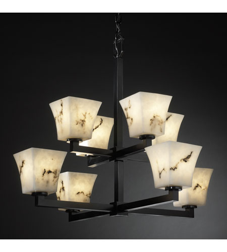 Justice Design LumenAria Modular 8-Light 2-Tier Chandelier in Matte Black FAL-8828-40-MBLK photo