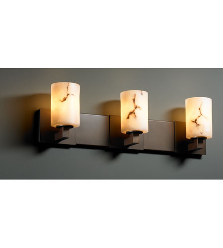 Justice Design FAL-8923-10-DBRZ LumenAria 3 Light 27 inch Dark Bronze Bath Bar Wall Light in Cylinder with Flat Rim, Fluorescent photo