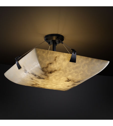 Justice Design FAL-9631-25-MBLK LumenAria 3 Light 21 inch Matte Black Semi-Flush Bowl Ceiling Light in Square Bowl photo