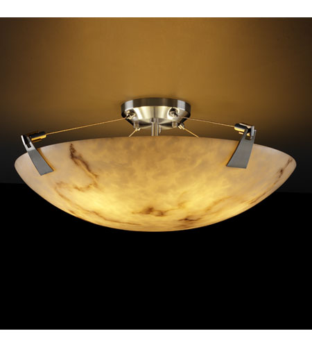 Justice Design FAL 9632 35 NCKL LumenAria 6 Light 21 Inch Brushed Nickel  Semi Flush Bowl Ceiling Light In Round Bowl