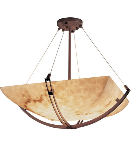 Justice Design FAL-9724-25-DBRZ LumenAria 8 Light 42 inch Dark Bronze Pendant Bowl Ceiling Light in Square Bowl photo