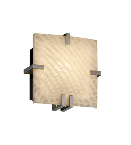 Justice Design Fusion Clips Square Wall Sconce (Ada) in Brushed Nickel FSN-5550-WEVE-NCKL photo