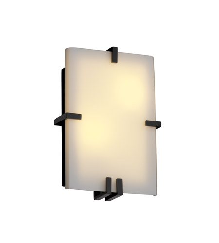 Justice Design Fusion Clips Rectangle Wall Sconce (Ada) in Matte Black FSN-5551-OPAL-MBLK photo