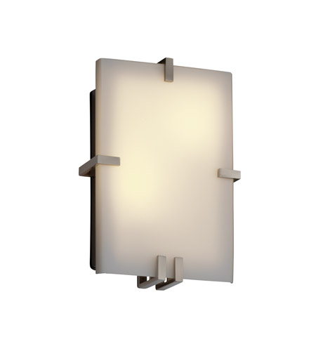 Justice Design Fusion Clips Rectangle Wall Sconce (Ada) in Brushed Nickel FSN-5551-OPAL-NCKL photo